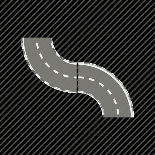 asphalt, cartoon, curve, highway, road, transportation, way icon