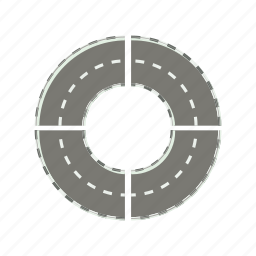 asphalt, cartoon, circle, highway, road, round, transportation icon