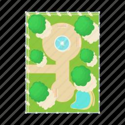 above, aerial, cartoon, fountain, green, park, view icon
