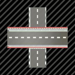 asphalt, cartoon, highway, intersection, multilevel, road, transportation icon