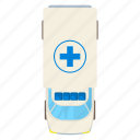 above, ambulance, cartoon, medical, medicine, roof, top icon