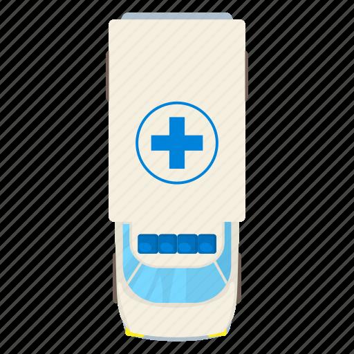 above, ambulance, cartoon, medical, medicine, roof, top icon