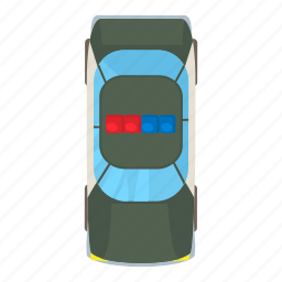 car, cartoon, light, security, top, vehicle, view icon