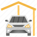 auto shop, car garage, carparked, showroom, vehicle workshop icon