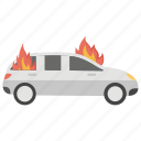 car burn, car fire, engine damage, fire on car, road accident icon