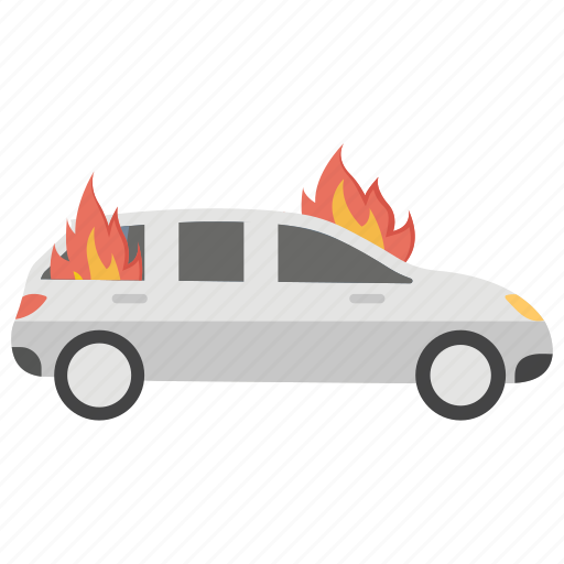 car burn, car fire, engine damage, fire on car, road accident icon