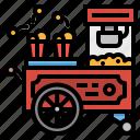 cart, food, popcorn, stand, street