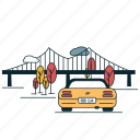 bridge, car, city, flyover, transportation icon