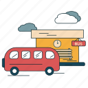 bus, bus stop, city, suburban, transportation, waiting icon
