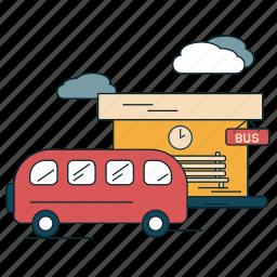 bus, bus stop, city, suburban, transportation, waiting icon