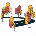 boulevard, road, suburban, trees icon