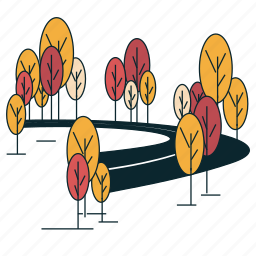 boulevard, road, suburban, trees icon