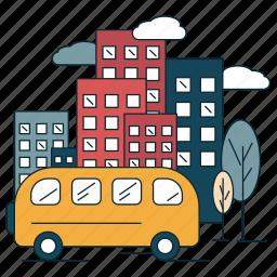 city, suburban, traffic, transportation, vehicle icon