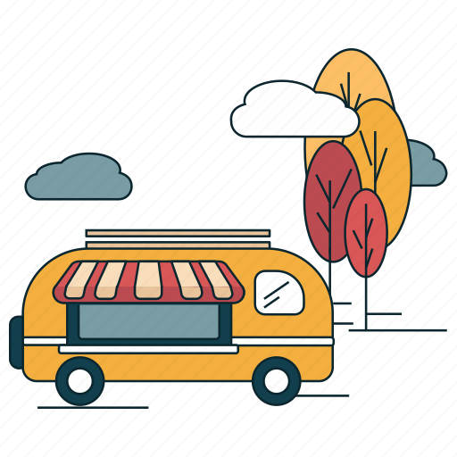 burgers, food bus, mobile pantry, restaurant icon