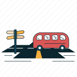 directions, open road, road, route, signboard icon