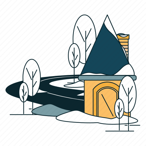 holiday, home, house, road, snow, winter icon