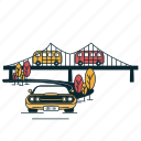 bridge, car, city, flyover, road, suburban, town icon