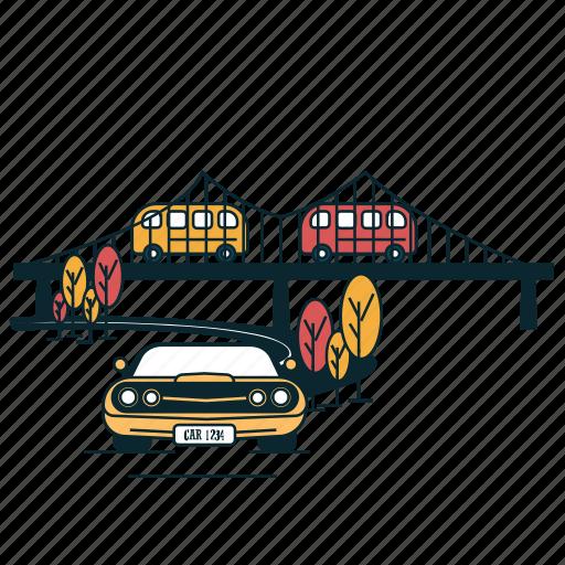bridge, car, city, flyover, road, suburban, town icon
