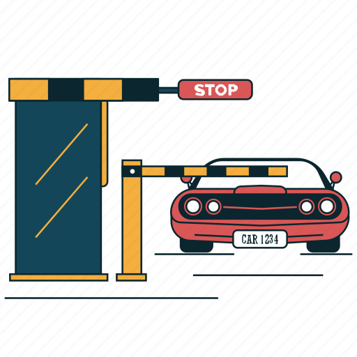 border, checkpoint, city, entrance, stop, tollbooth, traffic icon