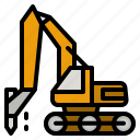 drilling, machine, heavy, vehicle, construction