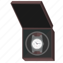 box, clocks, man, open, present, watches icon