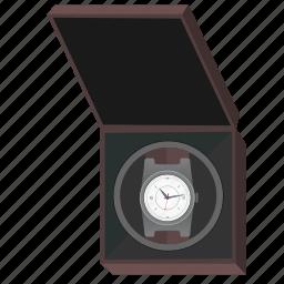 box, clocks, man, open, present, watches icon