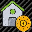 clean, energy, home, power, solar icon