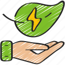 clean, energy, give, green, power icon