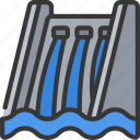 clean, electric, energy, hydro, plant, water icon