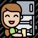 fridge, cleaning, refrigerator, domestic, appliance