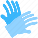 blue gloves, cleaning gloves, dishwashing, washing, washing gloves icon