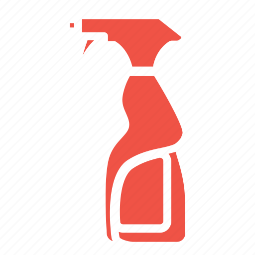 cleaning, glass, set, spray icon