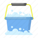 bucket, cleaning, cleanup, equipment, foam, tool icon