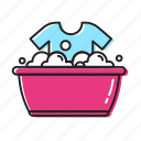 clothes tub, clothes wash, hand, wash icon
