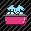 clothes tub, clothes wash, hand, wash icon