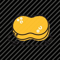 dish cleaner, soap, sponge, yellow icon