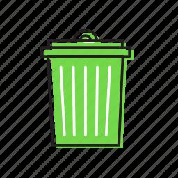 cleaning bin, dust bin, trash bin icon