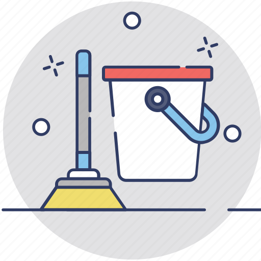 broom, bucket, cleaning, mop, wiper icon