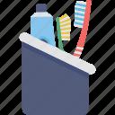 bathroom, brush, hygiene, toothbrush holder, toothpaste