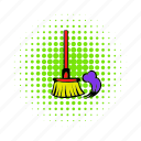broom, brush, clean, comics, dust, floor, housework icon