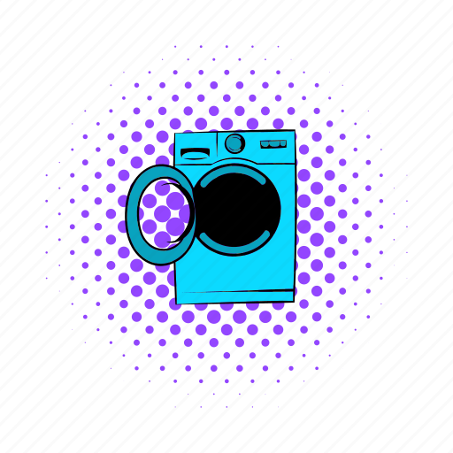 clean, comics, equipment, laundry, machine, wash, washer icon
