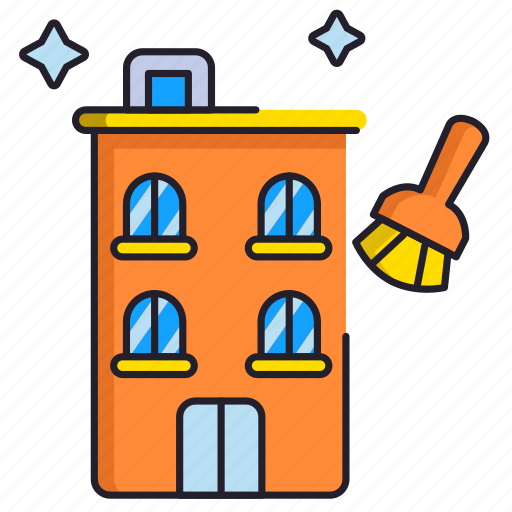 apartment, building, cleaning icon