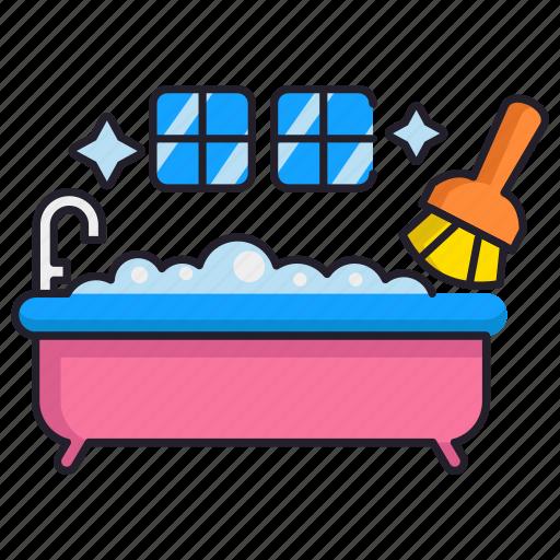 bathroom, bathtub, cleaning icon