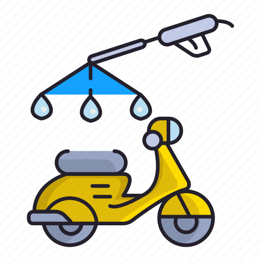 cleaning, motorcycle, spray, wash icon