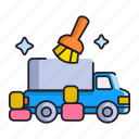 cleaning, moving, truck icon