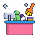 cleaning, desk, office icon