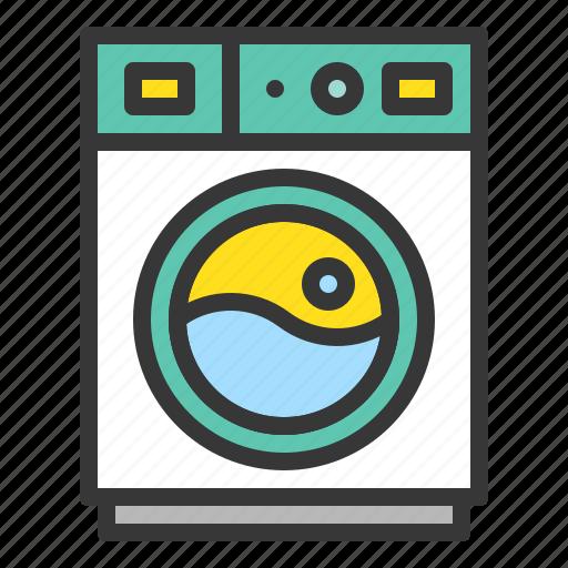 cleaning, household, housekeeping, laundry, washing, washing machine icon