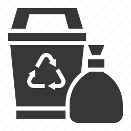 bin, cleaning equipment, equipment, garbage bag, housekeeping, trash bag, trash can icon