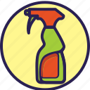 circle, cleaning, glass, set, spray icon