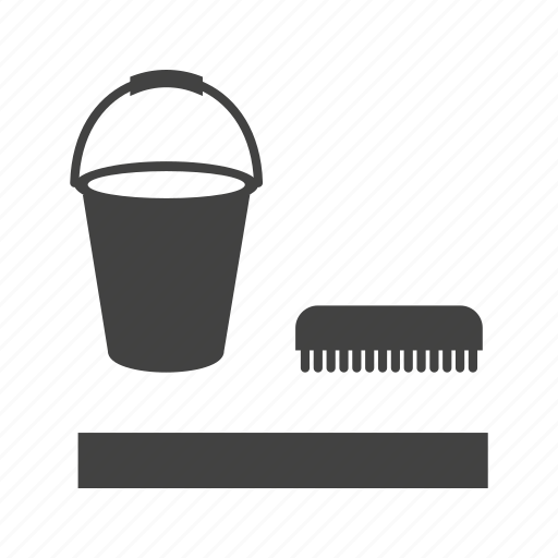 brush, bucket, cleaning, floor, home, mop, washing icon